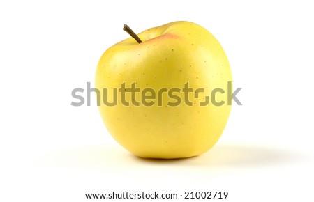 Single yellow apple, isolated over white - stock photo