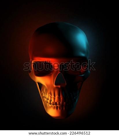 Sinister human skull - stock photo