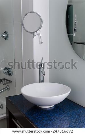 Sink bathroom bowl mirror clean contemporary - stock photo