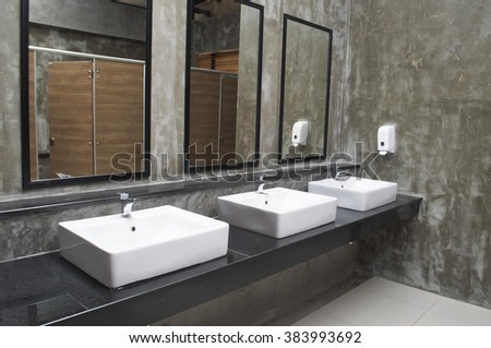 Public bathroom sink stock photos images pictures for Public bathroom sink