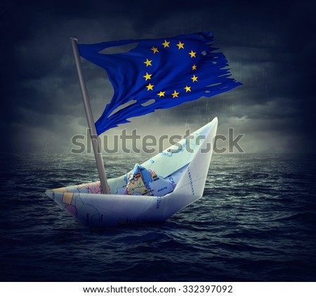 Sinking euro ship with a torn flag. Crisis concept. - stock photo