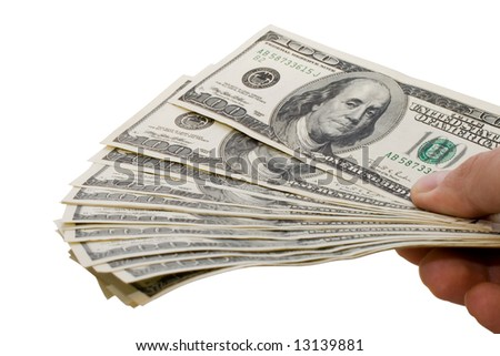 Sinking hand with money isolated on white background - stock photo