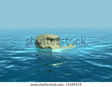 Sinking pound going down - stock photo