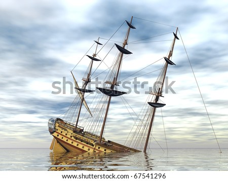 sinking ship in the sea - stock photo