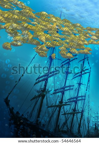 Sinking ship on sea bottom  and flight of fishes. - stock photo