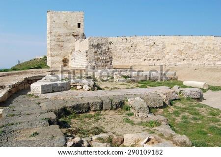 Sinop Castle. At the tip of the Black Sea in Turkey.(Historical Sinop Prison). Sinop,TURKEY - stock photo