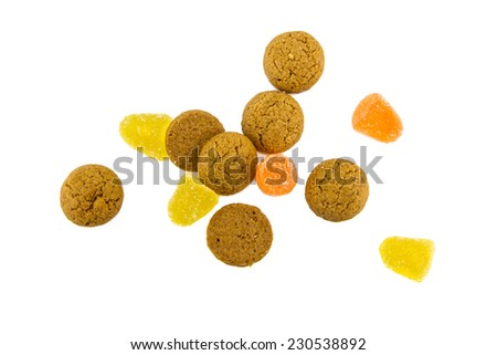 Sinterklaas background with pepernoten and candy for dutch sinterklaasfeest holiday event on december 5th - stock photo