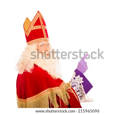 Sinterklaas with pointing finger. isolated on white background. Dutch character of Santa Claus - stock photo