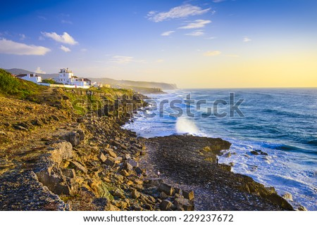 Sintra, Portugal coastline on the Atlantic Ocean. - stock photo