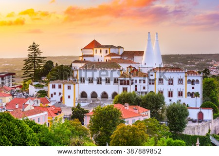 Sintra, Portugal old city at Sintra National Palace. - stock photo
