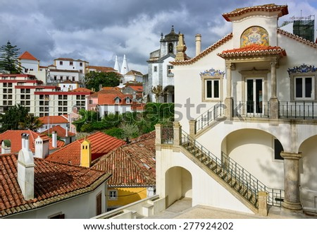 Sintra town, Portugal, the National Palace in background - stock photo