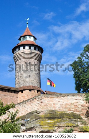 Sinwell Tower or Sinwellturm at Nuremberg Imperial Castle or Kaiserburg, in Franconia, Bavaria, Germany. - stock photo