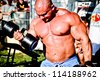SIOFOK - AUG 4: Kokeny Bela participate in Scitec Muscle Beach bodybuilding seminar on August 4, 2012 in Siofok, Hungary - stock photo
