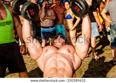 SIOFOK - AUGUST 1: Molnar Peter participate in Scitec Muscle Beach bodybuilding seminar on August 1, 2015 in Siofok, Hungary - stock photo