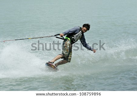 SIOFOK-SOSTO, HUNGARY -Â?Â? MAY 19: Unidentified wakeboarder participates at Surf Festival on May 19, 2007 in Siofok-Sosto, Hungary - stock photo