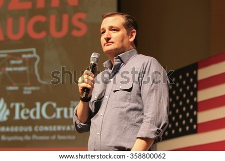 SIOUX CENTER, IOWA - JANUARY 5, 2016: Presidential candidate, Ted Cruz, speaks at a campaign stop in Iowa. - stock photo