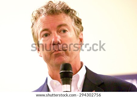 SIOUX CENTER, IOWA - JULY 1, 2015: Presidential candidate, Senator Rand Paul, addresses the media at a campaign stop in Iowa. - stock photo