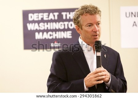 SIOUX CENTER, IOWA - JULY 1, 2015: Presidential candidate, Senator Rand Paul, addresses the public at a campaign stop in Iowa. - stock photo