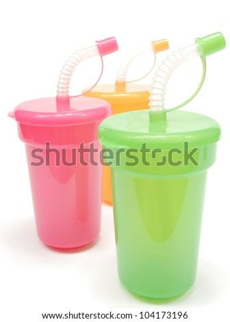 sippy cups - stock photo