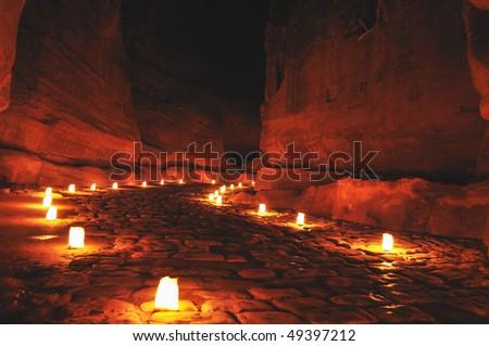 Siq during Petra night walk, Jordan - stock photo