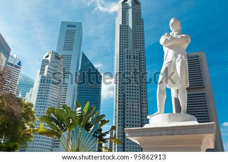 Sir Raffles statue, Singapore - stock photo
