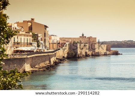 Siracusa castle in ortigia island. Sicily, Italy. - stock photo