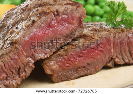 Sirloin beef steak chargrilled to medium rare. - stock photo
