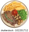 Sirloin beef steak dinner with fries, peas and mushrooms - stock photo