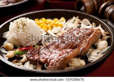 Sirloin steak on pan