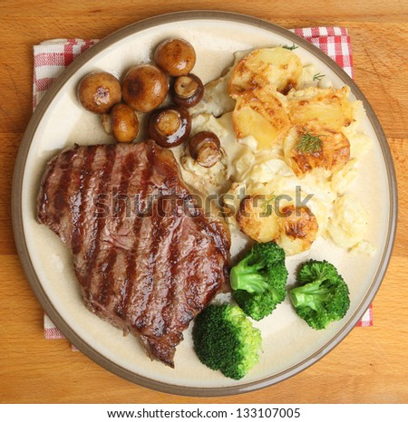 Sirloin steak with dauphinois potatoes, broccoli and mushrooms.