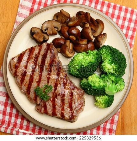 Sirloin steak with vegetables but no carbohydrates. - stock photo