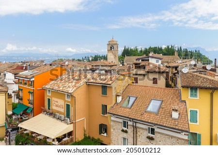 SIRMIONE, ITALY - JUNE 26, 2014: Aerial view of the Sirmione town, Italy. Sirmione became popular touristic destination on the Lake garda, the largest lake in Italy