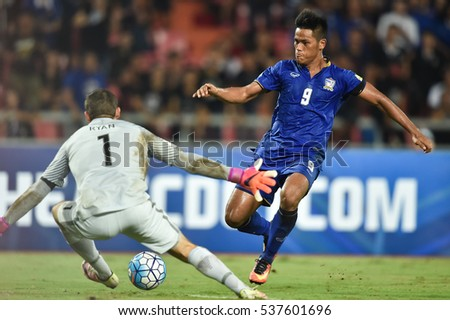 Siroch Chatting (blue) of Thailand  in action during the 2018 World Cup Qualifiers match between Thailand and Australia at Rajamangala Stadium on September 15, 2016 in Bangkok, Thailand