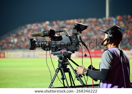 SISAKET THAILAND-APRIL 4: Cameraman during Thai Premier League between Sisaket FC and Thai Port FC at Sri Nakhon Lamduan Stadium on April 4,2015,Thailand - stock photo