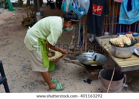 Sisaket  Thailand- April 2 : Snack made from rice on April 2, 2016