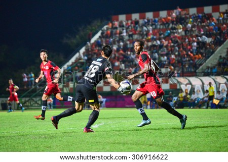 SISAKET THAILAND-AUGUST 12: Sinthaweechai (GK) of Chonburi FC. in action during Chang FA Cup between Sisaket FC and Chonburi FC at Sri Nakhon Lamduan Stadium on August 12,2015,Thailand - stock photo