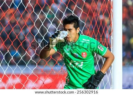 SISAKET THAILAND-FEBRUARY 18: Tossaporn Sri-reung of BEC Tero drinking water during Thai Premier League between Sisaket FC and BEC Tero at Sri Nakhon Lamduan Stadium on February 18,2015,Thailand - stock photo