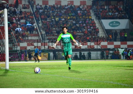 SISAKET THAILAND-JULY 25: P.Khompon (GK) of Nakhonratchasima FC. in action during Thai Premier League between Sisaket FC and Nakhonratchasima FC at Sri Nakhon Lamduan Stadium on July 25,2015,Thailand - stock photo