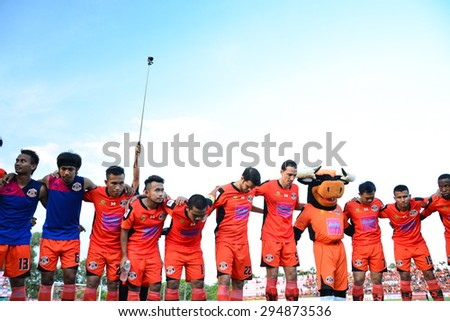SISAKET THAILAND-JULY 4: Players of Sisaket FC unite for a team prior to Thai Premier League between Sisaket FC and Chainat Hornbill FC at Sri Nakhon Lamduan Stadium on July 4,2015,Thailand