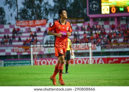 SISAKET THAILAND-JUNE 21: Kittipong Wongma of Sisaket FC. in action during  Thai Premier League between Sisaket FC and Navy FC at Sri Nakhon Lamduan Stadium on June 21,2015,Thailand - stock photo