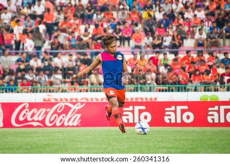 SISAKET THAILAND-MARCH 7: Anucha Suksai of Sisaket FC. in action during a training ahead Thai Premier League between Sisaket FC and Gulf Saraburi FC at Sisaket on March 7,2015,Thailand - stock photo