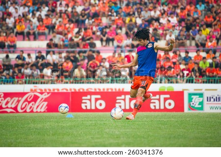 SISAKET THAILAND-MARCH 7: Chompoo Saengpoe of Sisaket FC. in action during a training ahead Thai Premier League between Sisaket FC and Gulf Saraburi FC at Sisaket on March 7,2015,Thailand - stock photo