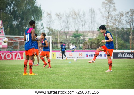 SISAKET THAILAND-MARCH 7: Chompoo Saengpoe (right) of Sisaket FC. in action during Thai Premier League between Sisaket FC and Gulf Saraburi FC at Sri Nakhon Lamduan Stadium on March 7,2015,Thailand - stock photo