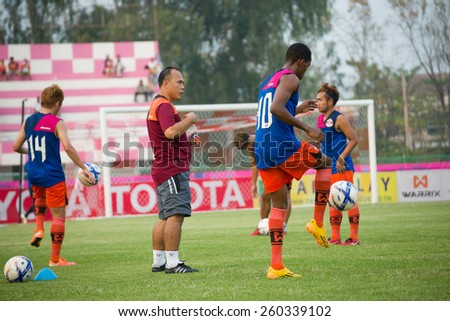 SISAKET THAILAND-MARCH 7: Players of Sisaket FC. in action during Thai Premier League between Sisaket FC and Gulf Saraburi FC at Sri Nakhon Lamduan Stadium on March 7,2015,Thailand - stock photo