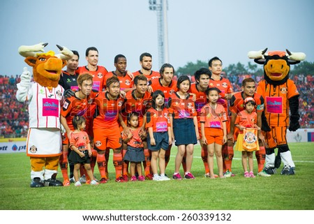SISAKET THAILAND-MARCH 7: Players of  Sisaket FC pose for a team picture prior to Thai Premier League between Sisaket and Gulf Saraburi FC at Sri Nakhon Lamduan Stadium on March 7,2015,Thailand - stock photo