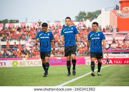 SISAKET THAILAND-MARCH 7: The referee in action during befor start Thai Premier League between Sisaket FC and Gulf Saraburi FC at Sisaket on March 7,2015,Thailand - stock photo