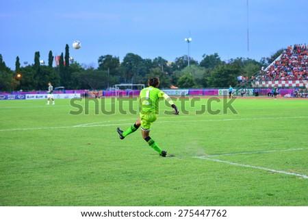 SISAKET THAILAND-MAY 3: Apiruk Worawong (GK) of Chiang rai Utd. in action during Thai Premier League between Sisaket FC and Chiang rai united at Sri Nakhon Lamduan Stadium on May 3,2015,Thailand - stock photo