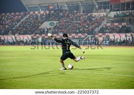 SISAKET THAILAND-October 15: Sivarak Tedsungnoen of Buriram Utd. in action during Thai Premier League between Sisaket FC and Buriram Utd at Si Nakhon Lamduan Stadium on October 15,2014,Thailand - stock photo
