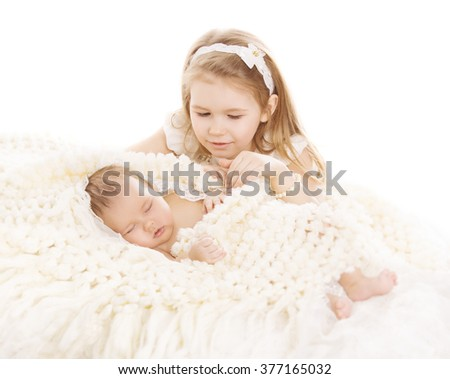Sister and Brother Kids, Sleeping Baby, Girl Child and Newborn Boy on White