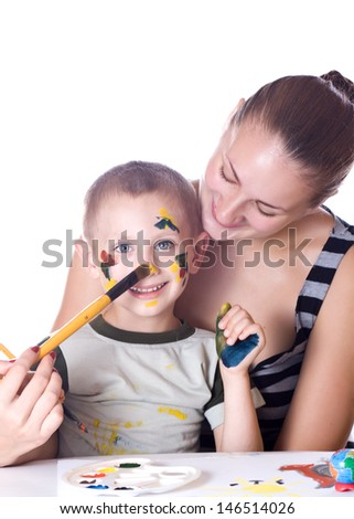 Sister and brother paint colors, smeared with watercolors - stock photo
